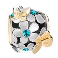 Charms Beads - SILVER 22K GOLD BLUE TOPAZ FLOWER GOLDEN BUTTERFLY CHARM BRACELET alternate image 2.