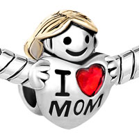 Charms Beads - MOTHER DAUGHTER CHARMS SILVER AMERICAN GIRL CHARM I LOVE MOM BEADS alternate image 1.