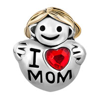 European Beads - 22K CUTE GIRL HOLDING HEART I LOVE MOM TWO TONE PLATED BEADS CHARMS BRACELETS alternate image 2.