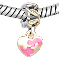 Charms Beads - GOLDEN P ROSE PINK HEART DANGLE TWO TONE PLATED BEADS CHARMS BRACELETS FIT ALL BRANDS alternate image 1.
