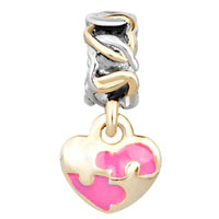 Charms Beads - GOLDEN P ROSE PINK HEART DANGLE TWO TONE PLATED BEADS CHARMS BRACELETS FIT ALL BRANDS alternate image 2.