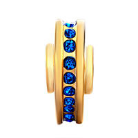Charms Beads - 22K GOLDEN HEART LOVE BLUE CRYSTAL SEPTEMBER BIRTHS CHARM SPACERS alternate image 2.