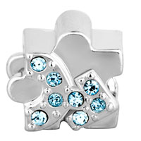 Charms Beads - MAR BIRTHS AQUAMARINE BLUE CRYSTAL PEOPLE SHAPE BEAD CHARM CHARM alternate image 2.