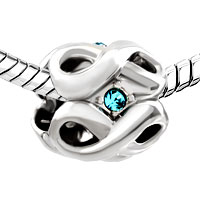 Charms Beads - SILVER PLATED MARCH BIRTHSTONE AQUAMARINE BLUE CRYSTAL INFINITY CHARM alternate image 1.