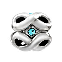 Charms Beads - SILVER PLATED MARCH BIRTHSTONE AQUAMARINE BLUE CRYSTAL INFINITY CHARM alternate image 2.