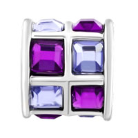 Charms Beads - AMETHYST PURPLE CRYSTALS TILES DRUM CHARM BEAD DESIGNER CHARM BRACELET alternate image 2.