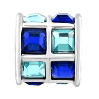 Charms Beads - BLUE AND SAPPHIRE CRYSTALS TILES DRUM CHARM BEAD DESIGNER CHARM alternate image 2.