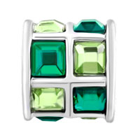 New Year Deals - EMERALD GREEN BLUE ELEMENTS CRYSTAL TILES DRUM LUCKY CHARM BRACELETS alternate image 2.