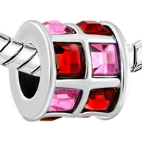 Charms Beads - ROSE PINK AND RED CRYSTALS TILES DRUM CHARM BEAD DESIGNER CHARM alternate image 1.