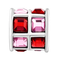 Charms Beads - ROSE PINK AND RED CRYSTALS TILES DRUM CHARM BEAD DESIGNER CHARM alternate image 2.