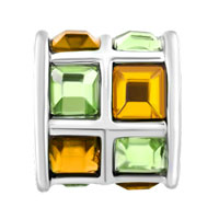 New Arrivals - TOPAZ YELLOW GREEN ELEMENTS CRYSTAL TILES DRUM LUCKY CHARM BRACELETS alternate image 2.