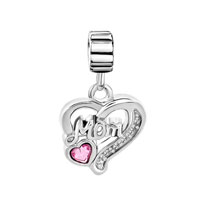 Charms Beads - MOTHER DAUGHTER ROSE OCTOBER BIRTHS HEART DANGLE CHARM BRACELET SPACER alternate image 2.