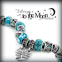 Charms Beads - AQUAMARINE BLUE CRYSTAL LIVE LOVE LAUGH SPIRAL BEAD CHARM BRACELETS alternate image 3.