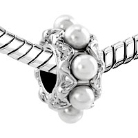 Charms Beads - SILVER WHITE PEARL CHARM BRACELET SPACER EUROPEAN INFANT CHARM BEAD alternate image 1.
