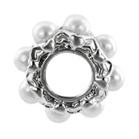 Charms Beads - SILVER WHITE PEARL CHARM BRACELET SPACER EUROPEAN INFANT CHARM BEAD alternate image 2.