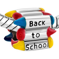 Charms Beads - COLORFUL CRAYONS BACK TO SCHOOL EUROPEAN BEAD DESIGNER CHARM BRACELET alternate image 1.