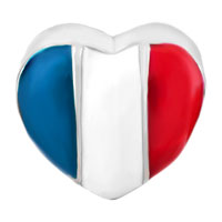Charms Beads - HEART CHARM BRACELET FRANCE PATRIOTIC FLAG CHARM EUROPEAN BEAD alternate image 2.