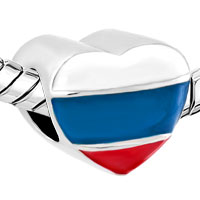 Charms Beads - HEART CHARM BRACELET RUSSIAN PATRIOTIC FLAG CHARM EUROPEAN BEAD alternate image 1.
