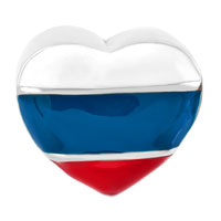 Charms Beads - HEART CHARM BRACELET RUSSIAN PATRIOTIC FLAG CHARM EUROPEAN BEAD alternate image 2.
