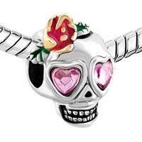 Charms Beads - ROSE PINK CRYSTAL EVIL EYE CHARM BRACELET SKULL WITH OPEN FLOWER BEADS alternate image 1.