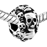 Charms Beads - SILVER PLATED SILVER HALLOWEEN SKELETON SKULL CHARM BRACELET alternate image 1.