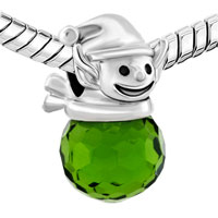 Charms Beads - SILVER LEPRECHAUN ELF LIGHT GREEN CRYSTAL LUCKY CHARM BRACELET alternate image 1.