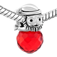 Charms Beads - SILVER PLATED SANTA CLAUS LIGHT RED CRYSTAL LUCKY CHARMS BRACELETS alternate image 1.