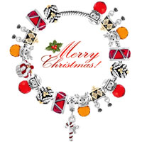 Charms Beads - SILVER PLATED SANTA CLAUS LIGHT RED CRYSTAL LUCKY CHARMS BRACELETS alternate image 3.