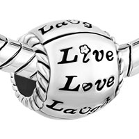 Charms Beads - SILVER PLATED FLOWER LIVE LOVE LAUGH HEART BEADS CHARMS BRACELETS FIT ALL BRANDS alternate image 1.
