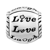 Charms Beads - SILVER PLATED FLOWER LIVE LOVE LAUGH HEART BEADS CHARMS BRACELETS FIT ALL BRANDS alternate image 2.