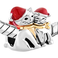 Charms Beads - MOTHER DAUGHTER CHARMS RED CHRISTMAS HAT CAT BABY CHARM BRACELET alternate image 1.