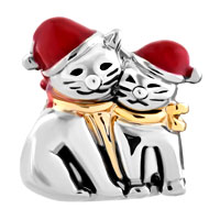 Charms Beads - MOTHER DAUGHTER CHARMS RED CHRISTMAS HAT CAT BABY CHARM BRACELET alternate image 2.