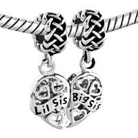Charms Beads - FILIGREE HEART CHARM BRACELET BIG SIS & LIL SIS CELTIC KNOT BEAD alternate image 1.