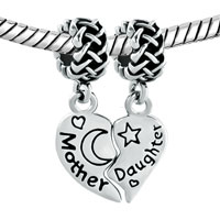 Charms Beads - SILVER MOTHER DAUGHTER BRACELETS CELTIC KNOT CHARM BRACELET SPACERS alternate image 1.