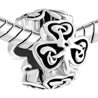 Charms Beads - HEART THREE LEAF IRISH KNOT CLOVER CHARM BRACELET SPACERS SILVER alternate image 1.