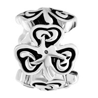 Charms Beads - HEART THREE LEAF IRISH KNOT CLOVER CHARM BRACELET SPACERS SILVER alternate image 2.