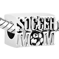 Charms Beads - SILVER PLATED SOCCER MOM FOOTBALL SPORTS CHARMS FOR BRACELETS LOVER alternate image 1.