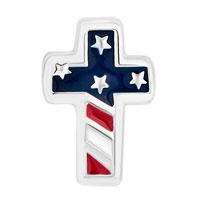 Charms Beads - SILVER PLATED AMERICA FLAG CROSS FOR BEADS CHARMS BRACELETS FIT ALL BRANDS alternate image 2.