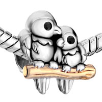 Charms Beads - SILVER 22K GOLDEN LOVE BIRDS TWOTONE EUROPEAN BEAD CHARMS BRACELETS alternate image 1.