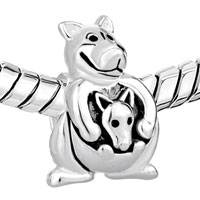 European Beads - CUTE KANGAROO CARRYING BABY SILVER PLATED BEADS CHARMS BRACELETS alternate image 1.