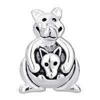 European Beads - CUTE KANGAROO CARRYING BABY SILVER PLATED BEADS CHARMS BRACELETS alternate image 2.