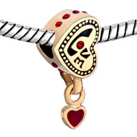 Charms Beads - SILVER 22K GOLDEN LOVE HEART CHARM BRACELET DANGLE RED CRYSTAL alternate image 1.