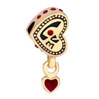 Charms Beads - SILVER 22K GOLDEN LOVE HEART CHARM BRACELET DANGLE RED CRYSTAL alternate image 2.