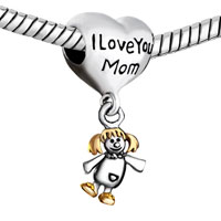Charms Beads - MOTHER DAUGHTER CHARMS HEART I LOVE MOM AMERICAN GIRL CHARM BEADS alternate image 1.