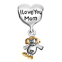 Charms Beads - MOTHER DAUGHTER CHARMS HEART I LOVE MOM AMERICAN GIRL CHARM BEADS alternate image 2.