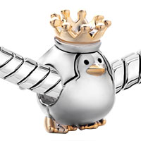 Charms Beads - 22K GOLDEN CUTE PENGUIN KING CROWN EUROPEAN BEAD CHARMS BRACELETS alternate image 1.