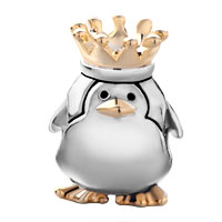Charms Beads - 22K GOLDEN CUTE PENGUIN KING CROWN EUROPEAN BEAD CHARMS BRACELETS alternate image 2.