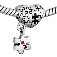 Charms Beads - AUTISM AWARENESS HEART CHARM BRACELET DANGLE LOVE RED CRYSTAL CHARM BEADS alternate image 1.