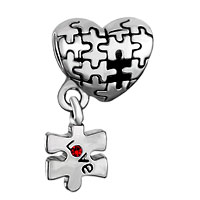 Charms Beads - AUTISM AWARENESS HEART CHARM BRACELET DANGLE LOVE RED CRYSTAL CHARM BEADS alternate image 2.