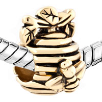 Charms Beads - 22K GOLDEN HONEYCOMB BEE BRANCH EUROPEAN BEAD CHARMS BRACELETS alternate image 1.